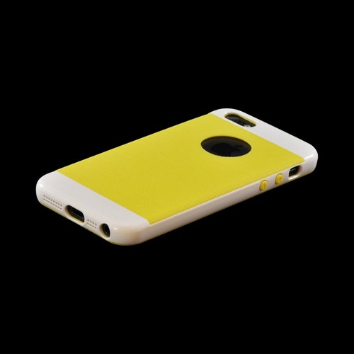 Apple iPhone SE / 5 / 5S  Case, Inflex [White/ Yellow]  Crystal Silicone Case w/ Textured Back w/ Screen Protector