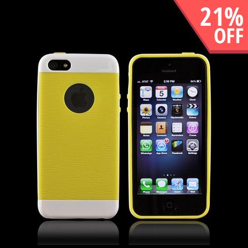Apple iPhone 5/5S Inflex Crystal Silicone Case w/ Textured Back & Screen Protector - White/ Yellow