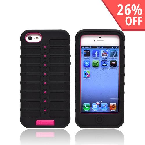 Apple iPhone SE / 5 / 5S  Case, Duo Shield [Black/ Hot Pink]  Duo Shield Silicone Over Hard Case w/ Screen Protector