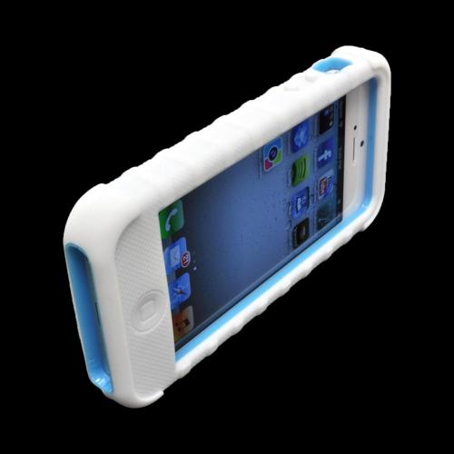 Apple iPhone SE / 5 / 5S  Case, Duo Shield [White/ Baby Blue]  Duo Shield Silicone Over Hard Case w/ Screen Protector