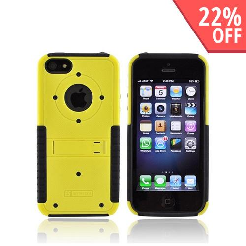 Apple iPhone 5/5S Tri Shield Hard Case Over Silicone w/ Stand & Screen Protector - Yellow/ Black