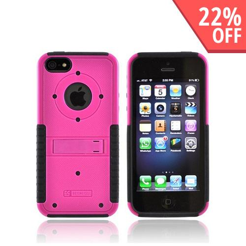 Apple iPhone SE / 5 / 5S  Case,  [Hot Pink/ Black]  Tri Shield Hard Case Over Silicone w/ Stand & Screen Protector