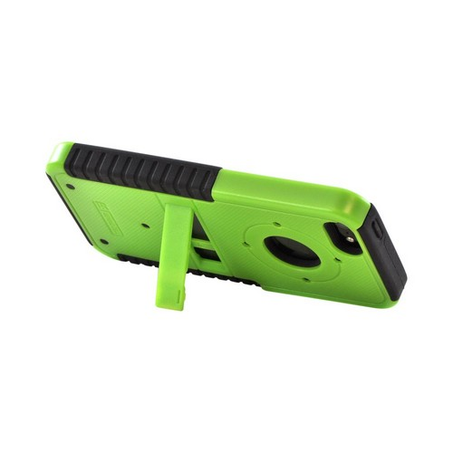 Apple iPhone 5/5S Tri Shield Hard Case Over Silicone w/ Stand & Screen Protector - Green/ Black