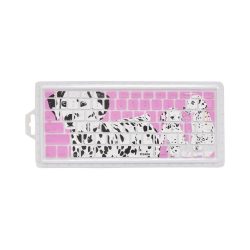 OEM XSKN Universal Apple MacBook Silicone Keyboard Cover - Pink/ White Dalmatians