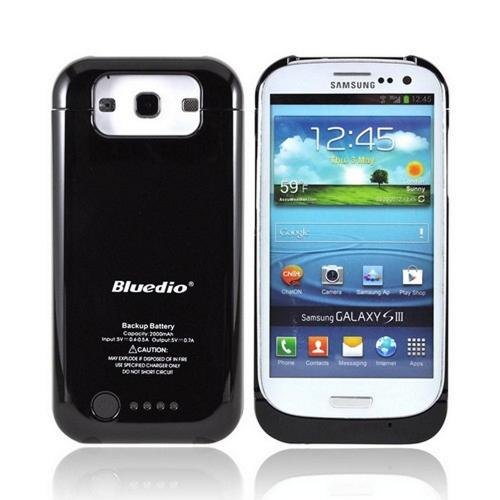 Samsung Galaxy S3 Hard Charging Case w/ LED Power Indicator w/ Micro USB Data Cable (2000 mAh) - Black