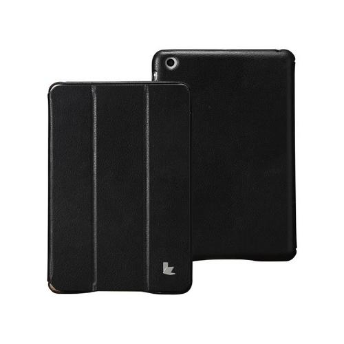 Jisoncase Black Handmade Vegan Friendly Leatherette Smart Cover Case for iPad Mini