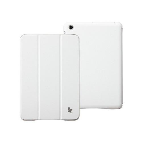 Jisoncase White Handmade Vegan Friendly Leatherette Smart Cover Case for iPad Mini