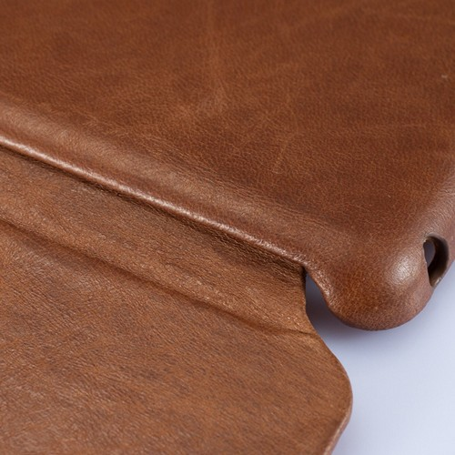 Jisoncase Brown Vintage Style Handmade Genuine Leather Smart Cover Case for iPad Mini