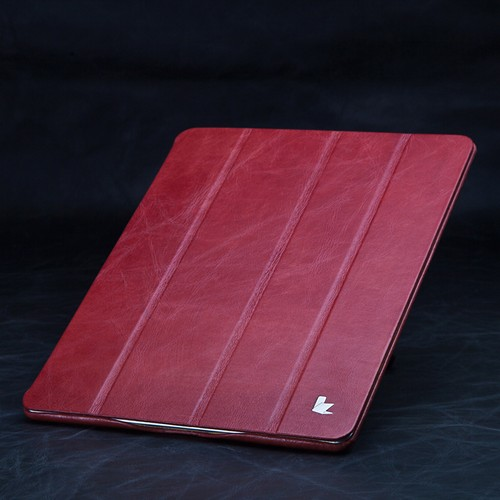 Jisoncase Red Vintage Style Handmade Genuine Leather Smart Cover Case for iPad 2/3/4