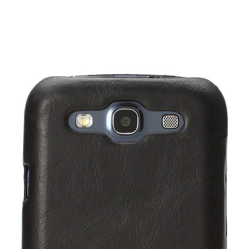 Jisoncase Black Vintage Style Handmade Genuine Leather Diary Folio Case for Samsung Galaxy S3