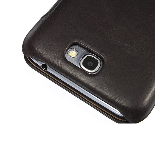 Jisoncase Black Vintage Style Handmade Genuine Leather Diary Folio Case for Samsung Galaxy Note 2