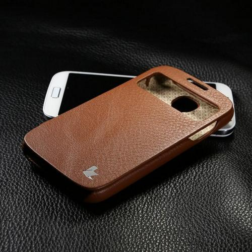 Brown JisonCase Handmade Executive Genuine Leather Folio Case w/ S-View for Samsung Galaxy S4