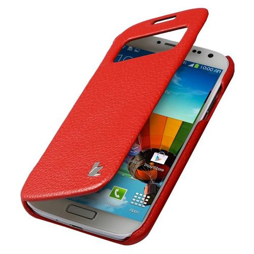 Red JisonCase Handmade Executive Genuine Leather Folio Case w/ S-View for Samsung Galaxy S4