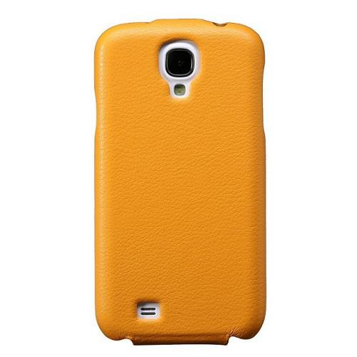 Yellow JisonCase Handmade Fashion Flip Vegan Friendly Leather Case for Samsung Galaxy S4