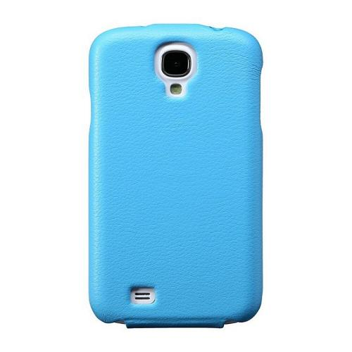 Sky Blue JisonCase Handmade Fashion Flip Vegan Friendly Leather Case for Samsung Galaxy S4