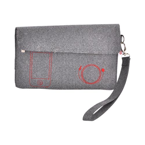 "Original Kroo 7"" E-Reader Eco-Friendly Felt Case w/ Detachable Strap, 7-FITMFLT - Gray/ Red"