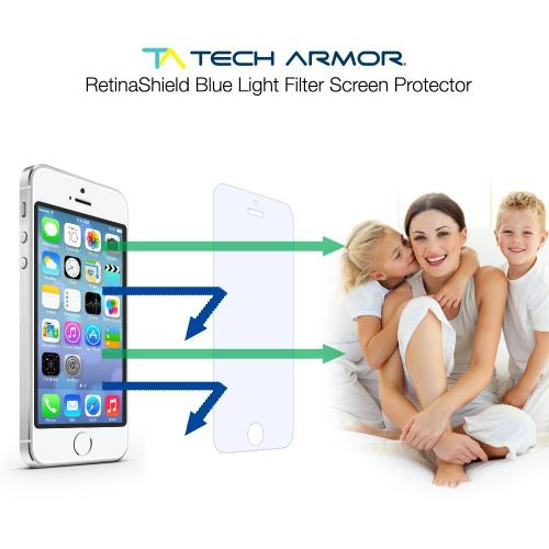 Apple iPhone SE / 5 / 5S  Screen Protector, Tech Armor [Retinashield Blue Light Filter]  Scratch Resistant, Bubble Free, Protective Screen Guard Film