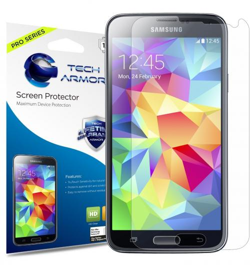 Tech Armor PRO SERIES DuraClear 8H Hardness HD Clear Screen Protector for Galaxy S5 Smartphone