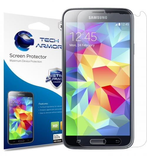 Tech Armor Samsung Galaxy S5 High Definition (HD) Clear Screen Protectors -- Maximum Clarity and Touchscreen Accuracy [3-Pack] Lifetime Warranty