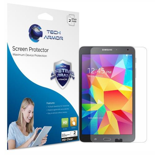 "Tech Armor Samsung Galaxy Tab 4 - 8"" High Definition (hd) Clear Screen Protectors Maximum Clarity And Touchscreen Accuracy [2pack] Lifetime Warranty"