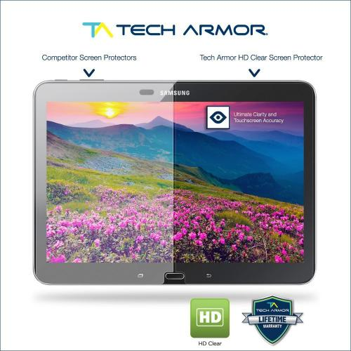 "Tech Armor Samsung Galaxy Tab 4 - 10"" High Definition (HD) Clear Screen Protectors [2-Pack]"