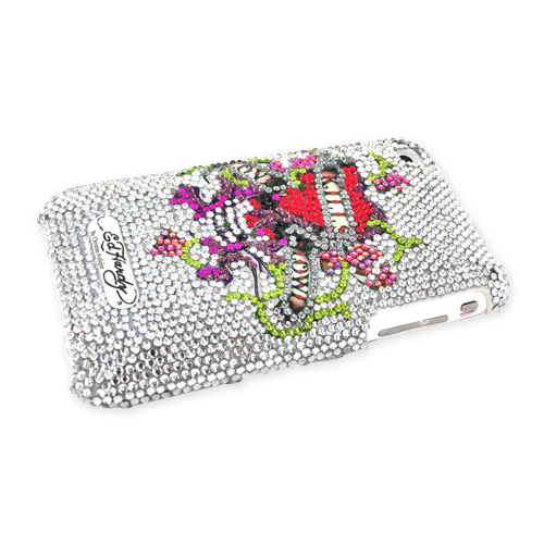 Original Ed Hardy Apple iPhone 3G 3GS Bling Hard Case - Love Kills Slowly Design on Clear Gems