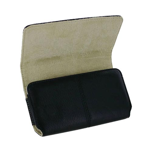 Original HTC HD2/EVO 4G Horizontal Leather Pouch w/ Magnetic Closure and Clip, 70H00255-00M - Black/Tan (PUTXL)