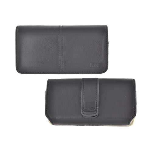 Original HTC EVO Shift 4G Messenger Horizontal Leather Pouch Case w/ Magnetic Closure & Belt Clip, 70H00332-01M - Black/ Tan (PUTXL)