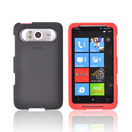 Original HTC HD7 / HTC HD7s Rubberized Hard Case, 70H00636-08M - Red/Black