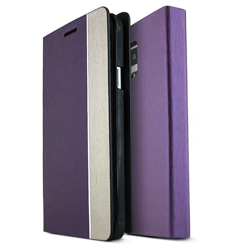 Samsung Galaxy Note 4 Case,  [Purple/ Copper] METAL LINE Series Slim & Protective Flip Cover Diary Case w/ ID Slots
