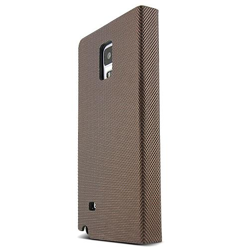 Samsung Galaxy Note 4 Case,  [Brown/ Copper] METAL SQUARE Series Slim & Protective Flip Cover Diary Case w/ ID Slots