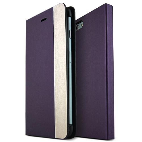 Apple iPhone 6 PLUS/6S PLUS (5.5 inch) Metal Line Series [Purple / Copper] Slim & Protective Flip Cover Diary Case w/ ID Slots