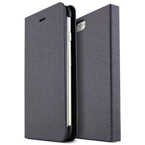 iPhone 6 (4.7 inches) Case Metal Square Series [Plum Purple / Black] Slim & Protective Flip Cover Diary Case w/ ID Slots
