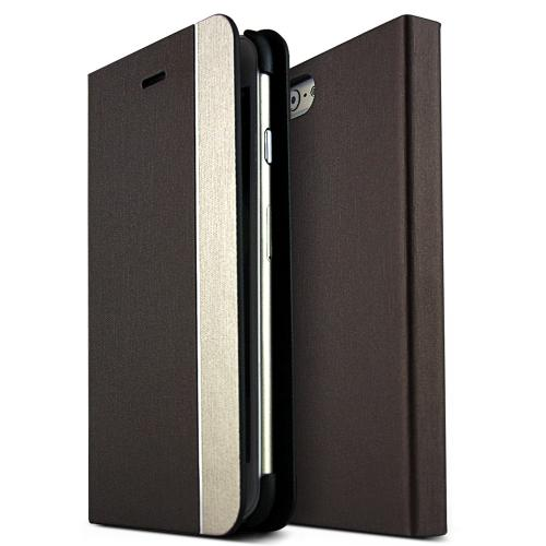 Metal Line Series [Brown / Copper] Slim & Protective Flip Cover Diary Case w/ ID Slots Made for Apple iPhone 6 (4.7 inch)