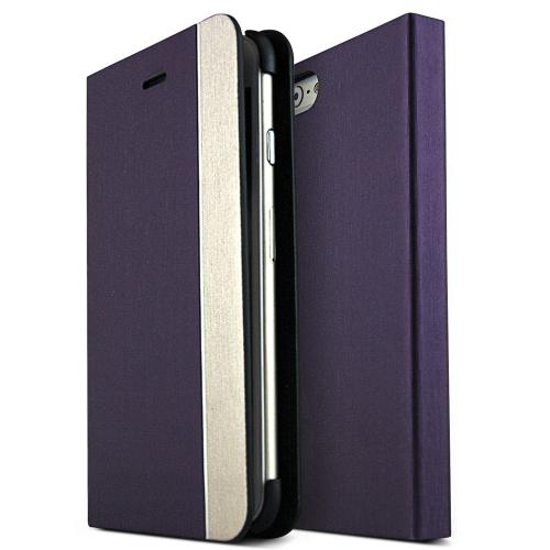 iPhone 6 (4.7 inches) Case Metal Line Series [Purple / Copper] Slim & Protective Flip Cover Diary Case w/ ID Slots