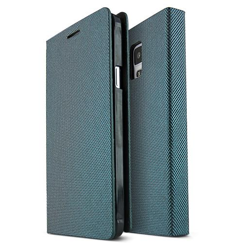 Samsung Galaxy Note 4 Case,  [Teal/ Black] METAL SQUARE Series Slim & Protective Flip Cover Diary Case w/ ID Slots