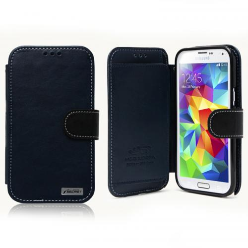 Nodea Navy/ Black Samsung Galaxy S5 Secret Diary Series Wallet Case Hard Case [tpu/ Faux Leather] Credit Card Slots, Stand Function