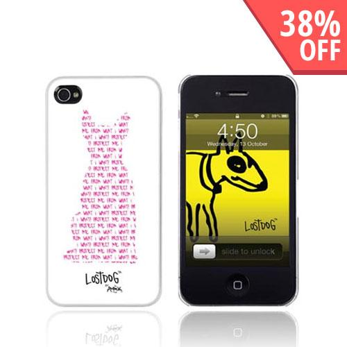 Original Lost Dog Apple iPhone 4 Hard Case w/ Screen Protector, 7324-LDWP - Pink on White