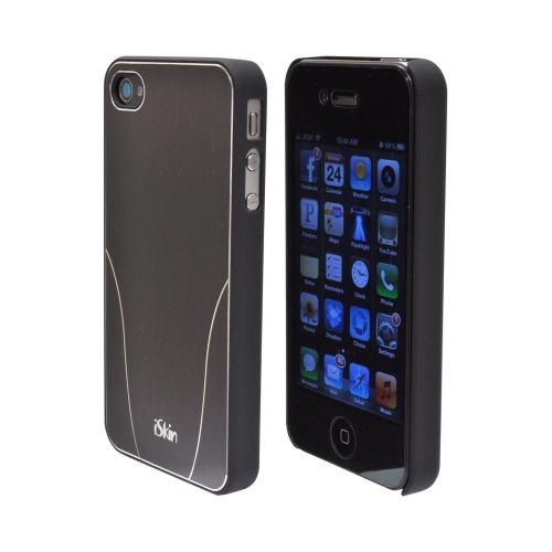 OEM iSkin Aura Apple iPhone 4/4S Ultra Slim Hard Case w/ Aluminum Back & Screen Protector - Gray/ Silver