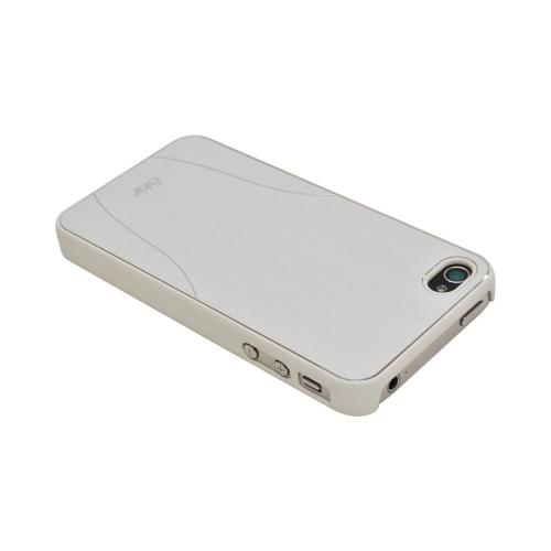 OEM iSkin Aura Apple iPhone 4/4S Ultra Slim Hard Case w/ Aluminum Back & Screen Protector - White/ Silver