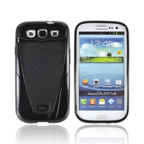 OEM iSkin Vibes Samsung Galaxy S3 Anti-Microbial Crystal Silicone Case w/ Screen Protector, VBSSG3-BK2 - Black