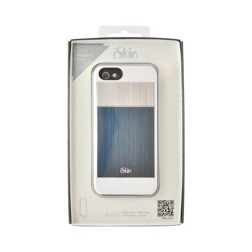 OEM iSkin Aura Apple iPhone 5/5S Ultra Slim Hybrid Hard Case w/ Aluminum Back  ARIPH5-BE1 - Blue/Silver/White