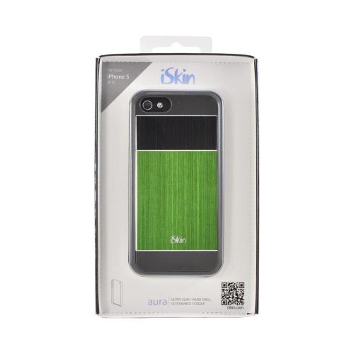 OEM iSkin Aura Apple iPhone 5/5S Ultra Slim Hybrid Hard Case w/ Aluminum Back  ARIPH5-GN3 - Green/ Black/ Gray