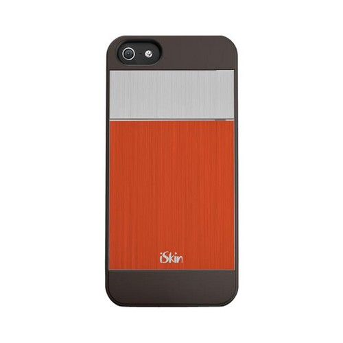OEM iSkin Aura Apple iPhone 5/5S Ultra Slim Hybrid Hard Case w/ Aluminum Back  ARIPH5-OE4 - Orange/Silver/Gray