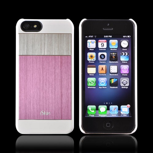 Apple iPhone SE / 5 / 5S  Case, iSkin [Pink/Silver/White] Aura Ultra Slim Hybrid Hard Case w/ Aluminum Back - ARIPH5-PK5