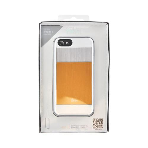 OEM iSkin Aura Apple iPhone 5/5S Ultra Slim Hybrid Hard Case w/ Aluminum Back  ARIPH5-YW6 - Gold/Silver/White
