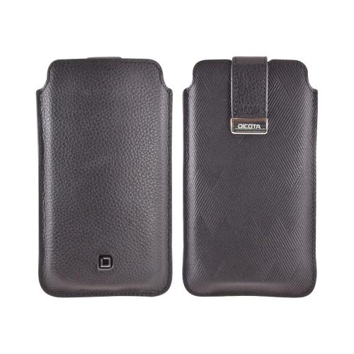 OEM Dicota Pull Tab Samsung Galaxy S3 & Nexus Vertical Genuine Leather Pouch, D30510 - Black w/ Purple Interior
