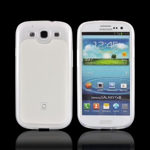 OEM Dicota Flexi Case Samsung Galaxy S3 Crystal Silicone Case w/ Leather Back, D30561 - Frost White/ White