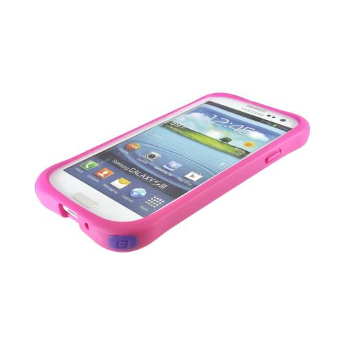 OEM Ballistic Samsung Galaxy S3 Lifestyle Smooth Gel Skin Case w/ Interchangeable Corner Bumpers - Hot Pink