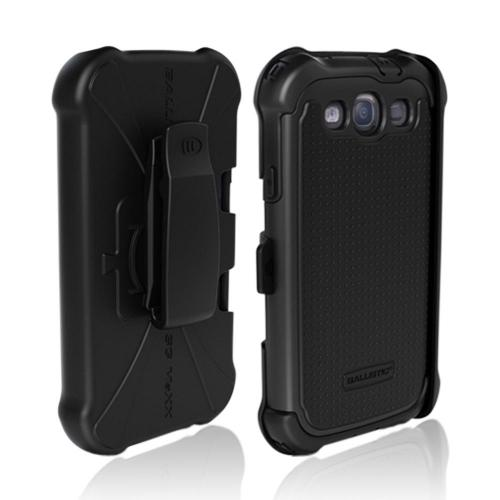 OEM Ballistic Samsung Galaxy S3 SG MAXX Hybrid Case w/ Holster & Built-In Screen Protector - Black